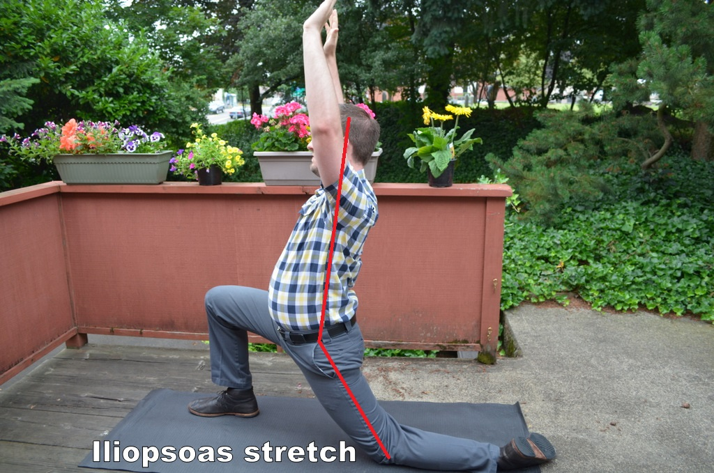 Pain free gardening psoas stretch