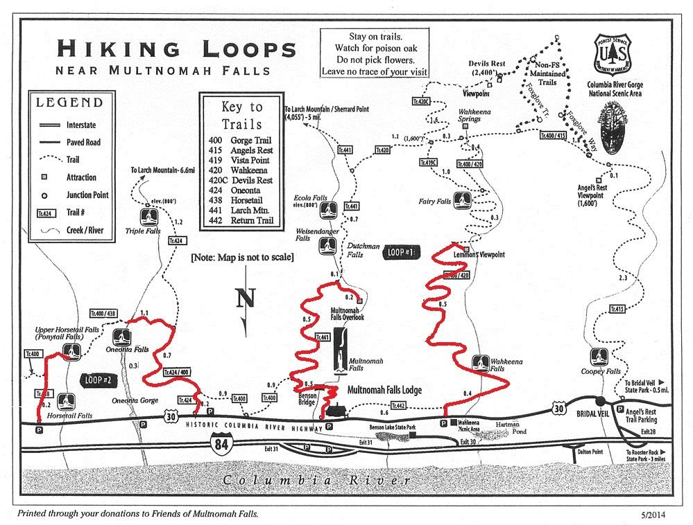 Portland family hiking trail map